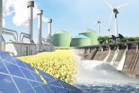 Windräder Wasserkraft Solaranlage Biogas Geothermie Rapsfeld